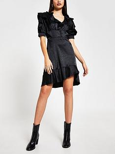 river-island-frill-detail-tea-dress-black