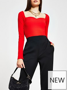 river-island-sweetheart-fitted-jersey-top-red