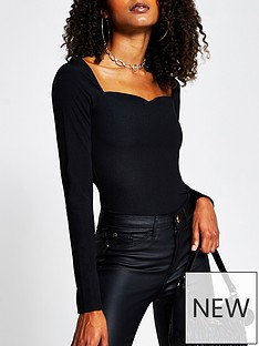 river-island-sweetheart-fitted-jersey-top-black