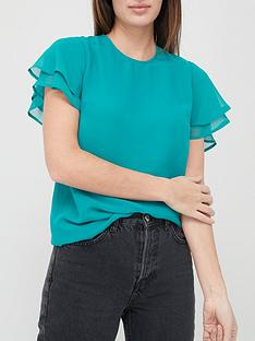 v-by-very-valuenbspgeorgette-short-sleevenbspshell-top-teal