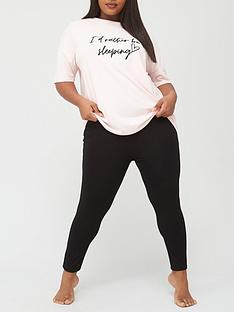 v-by-very-curve-slogan-short-sleeve-top-and-legging-nightwear-set-blush-black