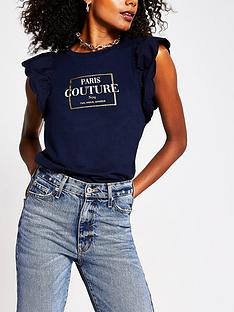 river-island-scallop-edge-woven-sleeve-paris-t-shirt-navy