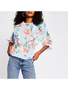 river-island-floral-print-frill-blouse-blue