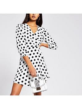 river-island-polka-dot-wrap-mini-dress-white