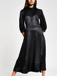 river-island-tie-neck-button-through-dress-black
