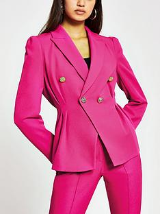 river-island-tuck-waist-double-breasted-fashion-blazer-pink