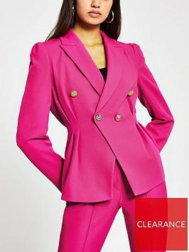 river-island-tuck-waist-double-breasted-fashion-blazer-pink