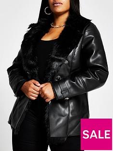 ri-plus-faux-fur-trim-punbspblazer-jacket-black