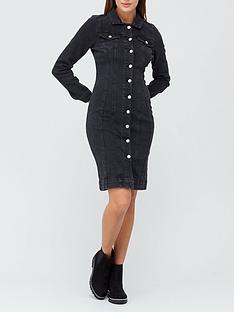 v-by-very-long-sleevenbspdenim-shirt-dress-black