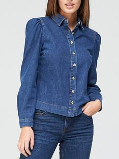 v-by-very-long-sleevenbsppuff-shoulder-denim-shirt-dark-wash