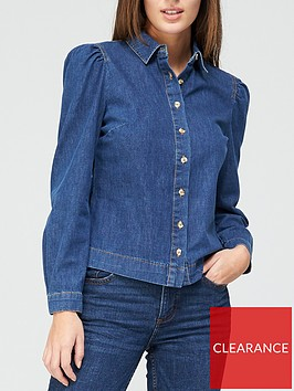 v-by-very-valuenbsplong-sleevenbsppuff-shoulder-denim-shirt-dark-wash