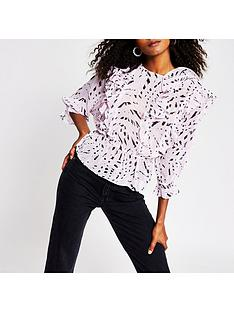 river-island-printed-frill-blouse-pink