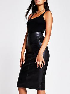 river-island-ponte-pu-hybrid-pencil-skirt-black