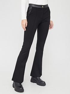 river-island-ponte-flare-trouser-black