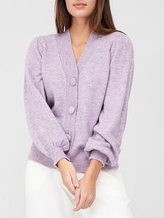 v-by-very-self-button-pleated-shoulder-cardigan-lilac