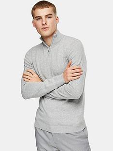 topman-knitted-half-zip-jumper-grey