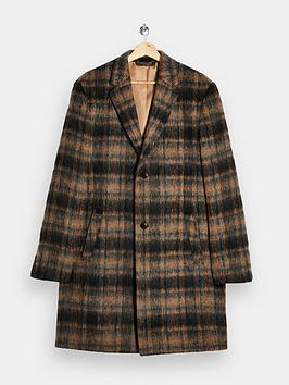 topman-brushed-check-overcoat-brown