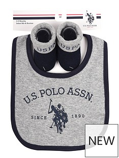 us-polo-assn-baby-boy-bib-and-booties-set-grey-marlnavy