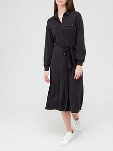 v-by-very-premium-long-sleeve-tie-waist-modal-shirt-midi-dress-black