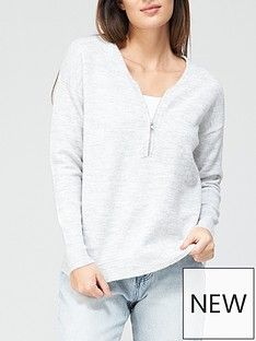 v-by-very-valuenbsprecycled-poly-zip-neck-jumper-grey-marl