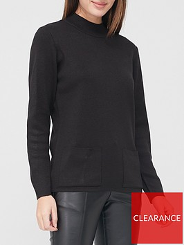 v-by-very-turtleneck-structured-knit-pocket-front-jumper-black