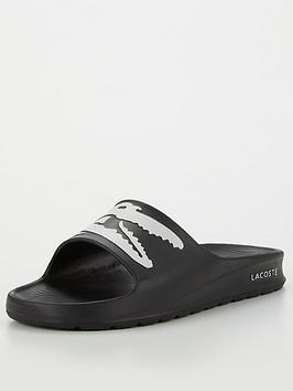 Lacoste Croco 2.0 Slide Logo Flat Sandal - Black White