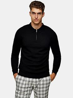 topman-knitted-long-sleeve-zip-polo-top-black