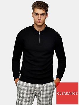 topman-knitted-long-sleeve-zip-polo-top-black