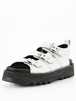 Kickers Knox Lo Buckle Flat Leather Sandal - White