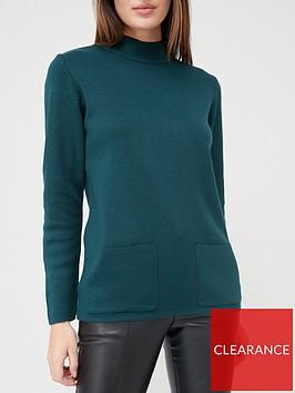 v-by-very-turtleneck-structured-knit-pocket-front-jumper-forest-green