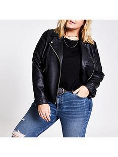 ri-plus-pu-stitch-detail-jacket-black
