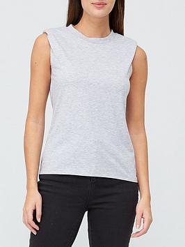 V By Very Padded Shoulder Vest Top - Grey