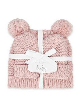 katie-loxton-baby-hat-and-mittens-set-pink-0-6-months