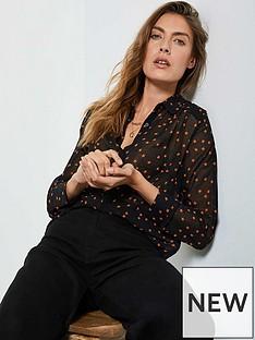 mint-velvet-star-print-longline-blouse-black