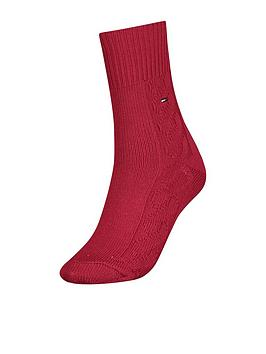 tommy-hilfiger-1-pack-cable-sock-red
