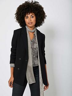 mint-velvet-textured-extended-shoulder-fitted-double-breasted-blazer-black