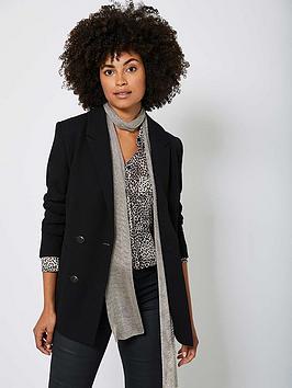 mint-velvet-textured-extended-shoulder-fitted-double-breasted-blazer-black