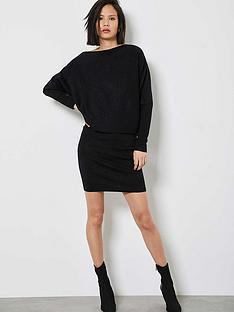mint-velvet-metallic-batwing-off-the-shoulder-dress-black