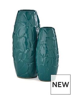 set-of-2-leaf-embossed-vases