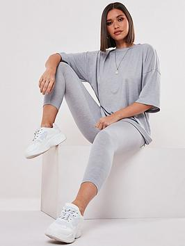 Missguided Missguided Co Ord Legging And Oversized T-Shirt Set - Grey