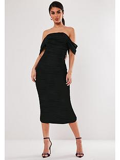 missguided-missguided-mesh-ruched-bardot-midi-dress-black