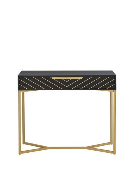 chevron-2-drawer-console-table-blackgold