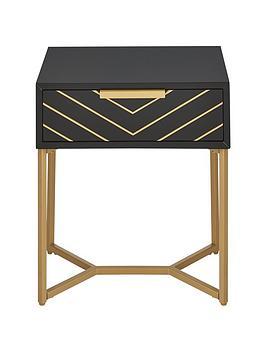 Chevron 1 Drawer Lamp Table - Black/Gold
