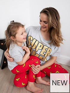 wonder-woman-ladiesnbspwonder-woman-mothers-daynbspmini-me-mothers-daynbsppyjamas-greyred