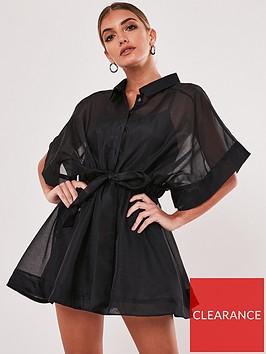 missguided-missguided-short-sleevenbsporganza-shirt-dress-black