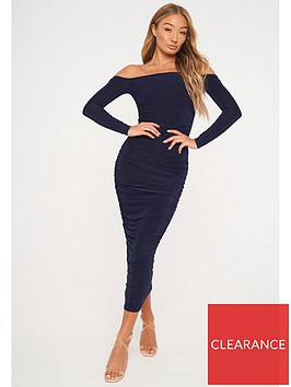 missguided-missguided-bardot-slinky-ruched-midaxi-dress-navy