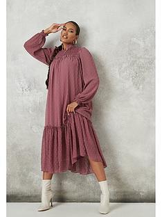 missguided-missguided-high-neck-dobby-midaxi-dress-dark-pink