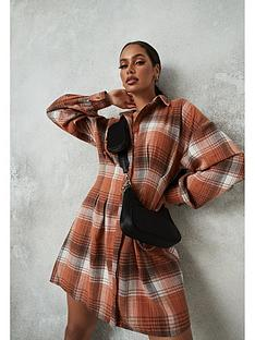 missguided-missguided-check-pleated-waist-shirt-dress-rust