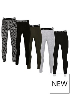 river-island-girls-5-pack-mixed-waistband-leggings-black