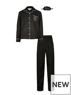 river-island-girls-ri-jacquard-satin-pyjama-set--nbspblack